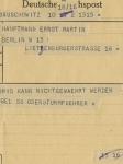Telegramm an Ernst Martin / Telegram to Ernst Martin